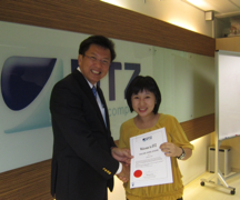 Vivian received the certificate